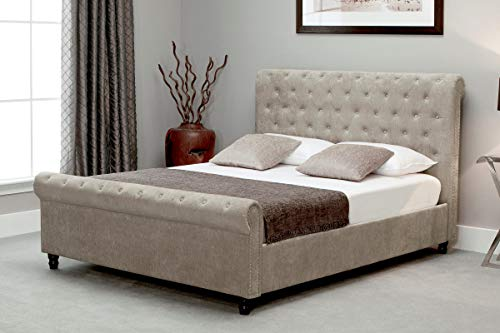 Sky Furniture Sleigh Button Ottoman Side Gas Lifting Storage Bed, Natural Stone, 6 ft (Super King)