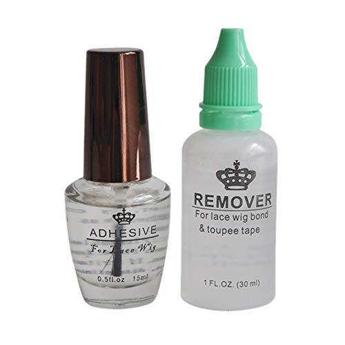 DealMux, kit removedor de pegamento, 0,5 oz, 15 ml, peluca de encaje, pegamento adhesivo transparente, para peluca de encaje completo, peluquín de hombre