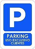Oedim Señal Parking Privado Uso Exclusivo Clientes | Tamaño A5 (21x14,8cm) | Decoración Pared | Aluminio 3 mm Resistente
