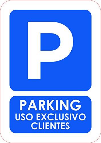Oedim Señal PVC Parking Reservado Solo para Clientes Tamaño A5 (21x14,8cm) Material PVC Resistente