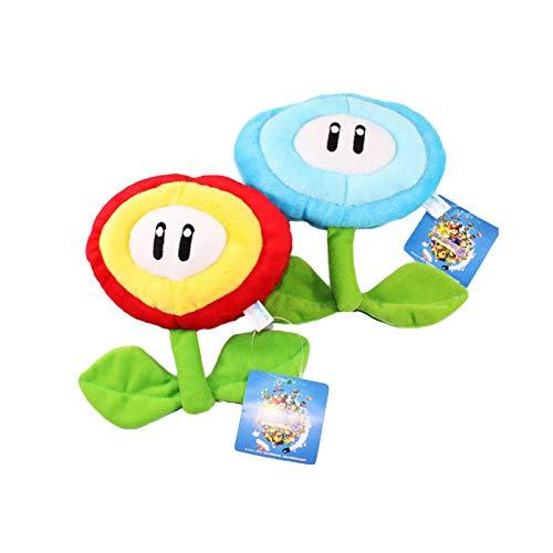 YUNMEI Mario Juguetes 2 Piezas / Lote 7 '18cm Super Mario Bros Flor De Hielo Azul Flor De Hielo Rojo Sol Flujos De Felpa Juguete De Muñeca