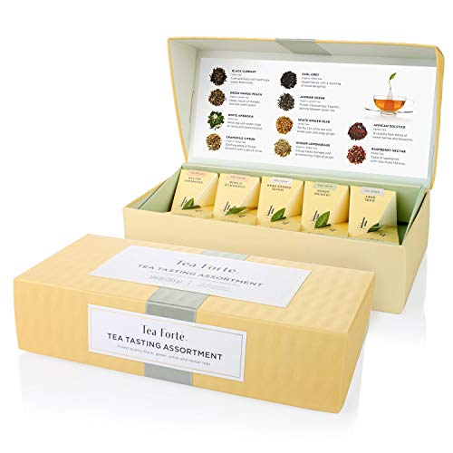 Tea Forte Tea Tasting Assortment Petite Presentation Box Tea Sampler Assorted Variety Tea Box 10 Handcrafted Pyramid Tea Infusers Black Tea White Tea Green Tea Herbal Tea
