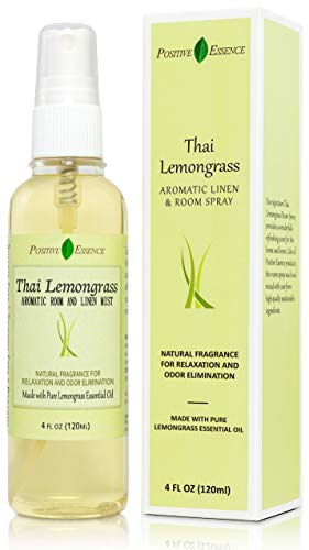 Thai Lemongrass Linen and Room Spray, Natural Air Freshener Made with Pure Lemongrass Essential Oil, Bathroom Air Freshener or Calming Pillow Spray