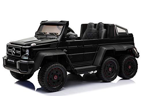 RIRICAR Elektro-Spielzeugauto Mercedes-Benz G63 6X6, LCD-Bildschirm, Radleuchten und Bodenleuchten, 2,4 GHz, 12V/14AH, Abnehmbare Batterie, 4 X Motor, Fernbedienung, Doppelsofa