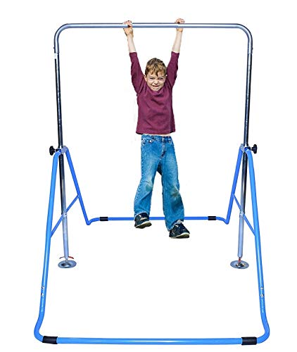 Athletic Bar Expandable Gymnastics Bar Horizontal Kip Bar Junior Training Adjustable Height Jungle Gym Children Monkey Bars Climbing Tower Playground Balance Bar Gymnasts w Gymnastics Gloves (Blue)