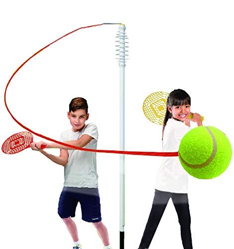 KreativeKraft Tennisschläger Strike, Classic Swing Tennisball Set Mit 2 Schlägern, Spiralstange Und Tennisball | Ball Gartenspielset | Einfache Einrichtung Von Sport- Und Outdoor Spiele für Kinder