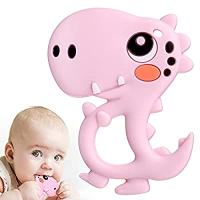 BBBiteMe Baby Teething Toys Dinosaur Baby Teether Silicone Toy for Toddlers and Infants, BPA-Free Eco-Friendly Non-Toxic Freezable Dishwasher and Refrigerator Safe (Pink)
