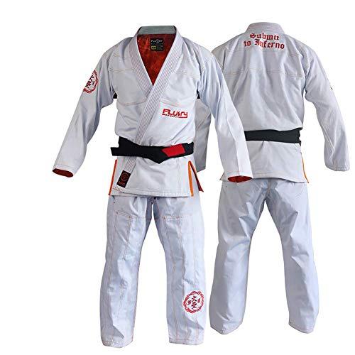 FLUORY Lightweight BJJ Gi,Brazilian Jiu Jitsu Uniform for Men & Women -A2 White