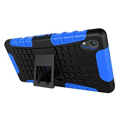 Funda Duro Tapa Case Cover - SODIAL(R)Para Sony Xperia Z2(5,2'), Funda Carcasa Duro Tapa Case Cover con soporte (azul) + Gratis aguja de la pantalla stylus universales