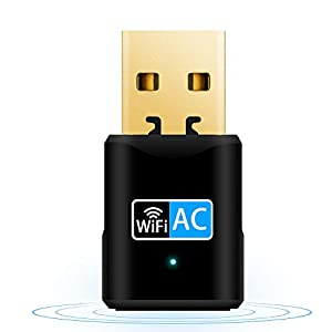 Aigital Adaptador WiFi USB, 600Mbps Driver Free Receptor WiFi Dongle Inalámbrico con Doble Banda AC,Seguridad Avanzada para PC/Desktop/Laptop,Soporte Windows 10/8 /8.1/7 /Vista/XP/MacOS