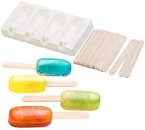 Rosenstein & Söhne Eisformen: Silikon-Form für 4 Eis am Stiel, je 70 ml, mit 24 Holzstielen (Eisformen Silikon)