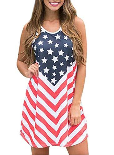 CORAFRITZ Vestido sin mangas con estampado de bandera americana para mujer, diseño de rayas, cuello redondo, sin mangas, mini vestido