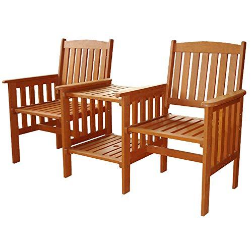 Abaseen Hardwood Love Seat Outdoor Garden Furniture Set 2 Seats and Table Companion Set