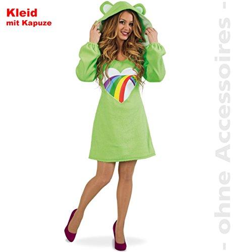 Damen Kostüm Bärli Kleid grün Bärchen Fasching Bär Spaßkostüm (S)