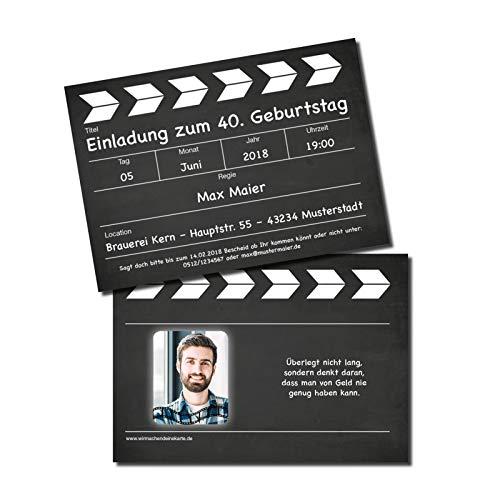 Einladung Einladungskarte Geburtstag Filmklappe individuell