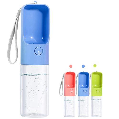 Sofunii Dog Water Bottle for Walking, Portable Pet Travel Water Drink Cup Mug Dish Bowl Dispenser, Made of Food-Grade Material Leak Proof & BPA Free - 15oz Capacity (Blue) …