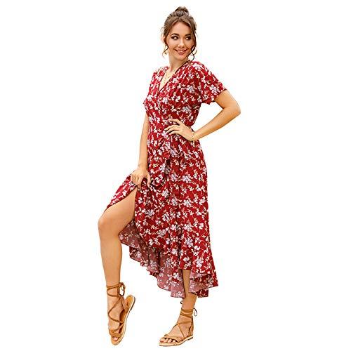 Vestido de Manga Corta con Cuello en V y Hojas de Loto de Vacaciones Europeas y Americanas Cintura Floral de Gasa para Mujer Mostrar Verano 2020 Fino