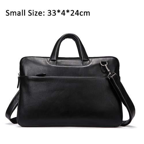 QSGNR Aktentasche Echtes Leder Umhängetaschen Schwarze Handtaschen Business Bag Männer Für Dokument Männliche Aktentaschen Leder Laptoptasche Blacks
