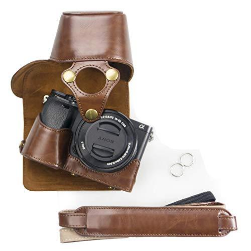 kinokoo Custodia in pelle PU per Sony A6300 A6000 e obiettivo 16-50mm, custodia protettiva SONY A6300 (caffè)