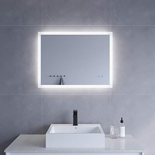 AQUABATOS 80x60 cm Badspiegel mit Beleuchtung Badezimmerspiegel LED Lichtspiegel Wandspiegel Energiesparend A++. Touch-Schalter Dimmbar, Kaltweiß 6400K, Warmweiß 3000K, Spiegelheizung, IP44, CE
