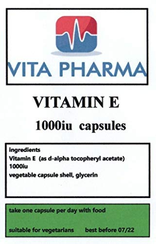 Vitamin E (HIGH Strength) 1000IU 120 Capsules, by VITA PHARMA, 4 Months Supply, Suitable for Vegetarians, Produced in The UK