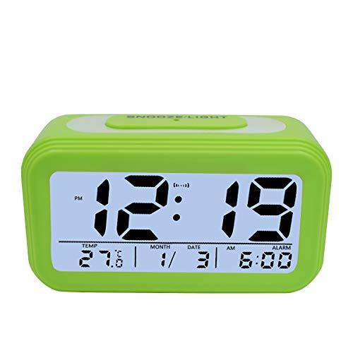 KidsPark Wecker Digital, Digitaler Wecker LED Kinderwecker mit Datum Temperatur Anzeige Batterie Digitalwecker Reisewecker mit Snooze und Nachtlicht Funktion, Grün