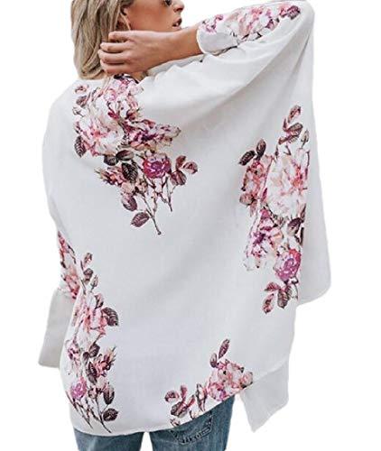 SOWTKSL Damen Sommer-Cardigan mit Fledermausärmeln und Blumenmuster, Chiffon Gr. US Large, weiß