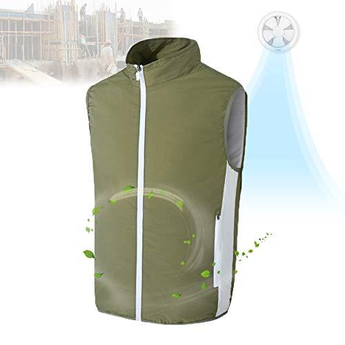 EnweKapu Chaleco Refrigerante, Camiseta Protector Solar Circulación Eficiente de 360 ° Fuente de Alimentación USB, Ropa con Proteccion Solar para Montañismo Senderismo Jardinería,Verde,XL