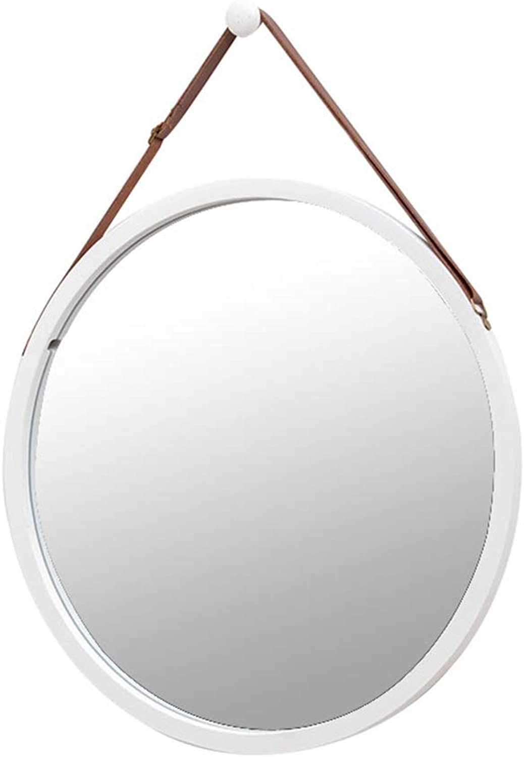 Wall Mounted Mirror- Decorative- Round- with Hanging Strap- Modern- High Definition Shaving Mirror- Ideal for Hallway, Living Room, Bedroom