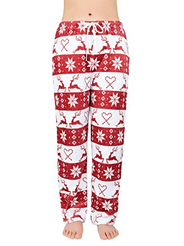 Women's Plush Fuzzy Pajama Pants Warm Cozy Pj Bottoms Drawstring Lounge Pants Fleece Sweatpants Fluffy Sleepwear 04 Christmas Red Medium