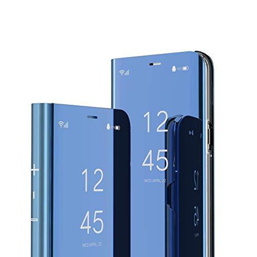 IMEIKONST Hülle für Oppo Realme 3 Pro, Buchstil Spiegel Handyhülle Makeup Clear View Ständer Schutzhüllen Flip Tasche Kompatibel mit Oppo Realme 3 Pro. Flip Mirror: Blue QH