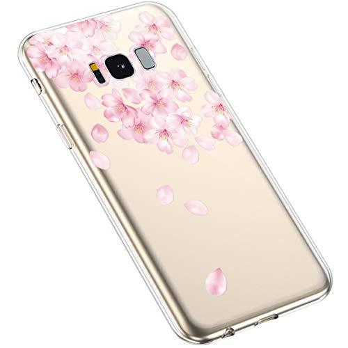 Uposao Kompatibel mit Samsung Galaxy S8 Plus Hülle Blumen Muster Transparent TPU Silikon Handyhülle Ultradünn Durchsichtige Schutzhülle Crystal Clear Case Handytasche,Kirschblüte Blumen
