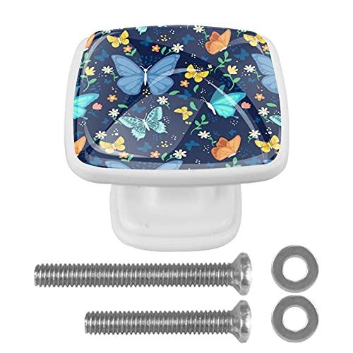 Perilla cuadrada de hardware de gabinete Blanco Mariposa colorida Perillas de vidrio de colores para tocador con tornillos de montaje, 4 paquetes 3x2.1x2 cm