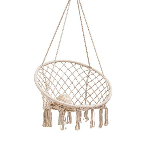 Opknoping Chair Beige Hangmat Nordic Style Opknoping Rope Chair Fun, Comfortabel Voor Living Room Balcony Garden Hotel Restaurant Outdoor, Tot 150 Kg Laadvermogen