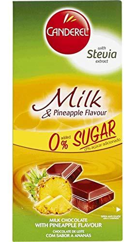 CANDEREL Chocolate/Cioccolato (Senza zucchero - adatto per i diabetici) - Milk Chocolate and Pineapple/Cioccolato al latte con ananas - 100gr x 6 bar * CON ESTRATTO DI STEVIA