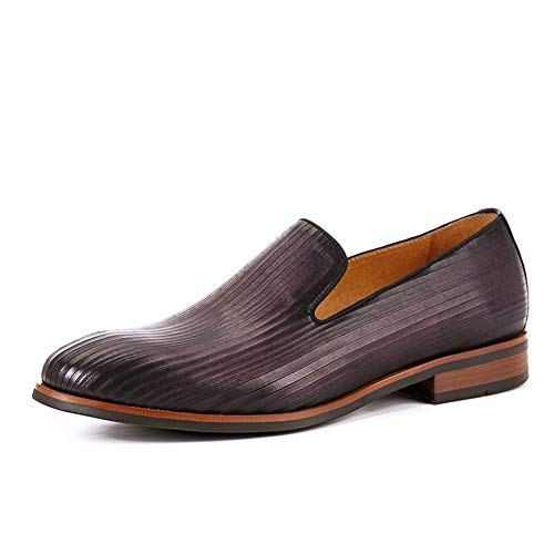 Rui Landed ÏôÏô Hand-Made British Low Top Formal Shoes for Men Oxford Shoes Premium Genuine Leather Slip On Style Casual Loafer Round Toe Block Heel (Color : Purple, Size : 6 M US)