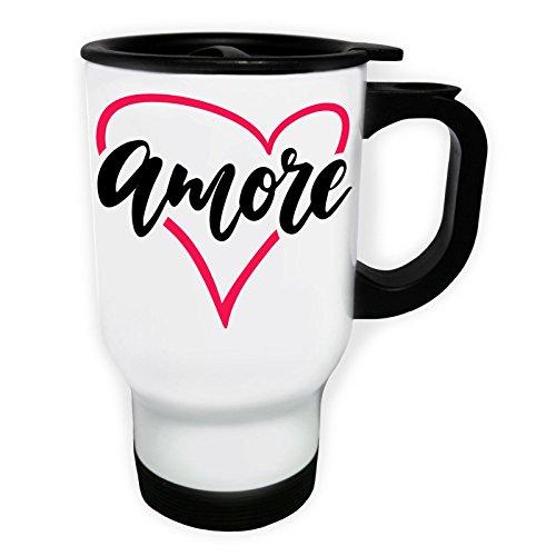Amore Amour Coeur Tasse de voyage thermique blanche 14oz 400ml v793tw