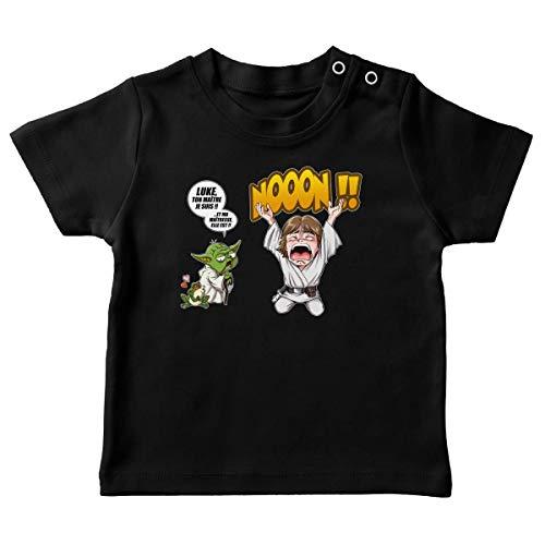 T-Shirt bébé Noir Parodie Star Wars - Yoda et Luke Skywalker - Luke Life Episode IV : Le Maître. (T-Shirt de qualité Premium de Taille 6 Mois - imprimé en France)
