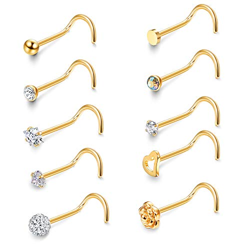 JOERICA 6 Pcs 20G Stainless Steel Screw Nose Studs Rings CZ Body Jewelry Piercing Golden-Tone