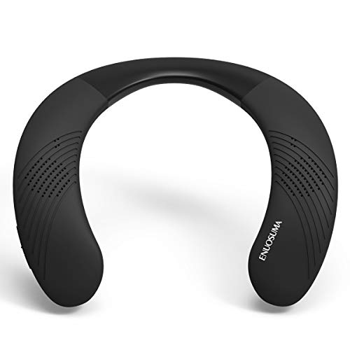 ENUOSUMA Wireless Wearable Speaker -Neckband 5.0 Bluetooth Speaker True 3D Stereo Sound, Portable Personal Speakers IPX5 Waterproof with 12H Play time for Work,Travel,Sports Black