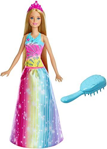 Barbie Dreamtopia poupée princesse Arc-en-ciel sons et lumières chantante avec cheveux blonds de 15 cm, fournie avec brosse, jouet pour enfant, FRB12