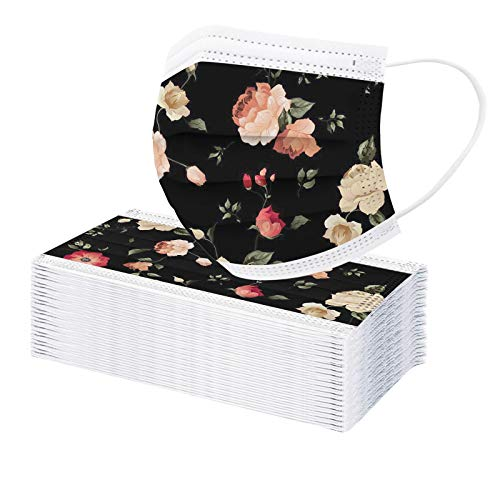 50pcs Flower Printing Disposable Çovid Face Masks for Adults Coronàvịrụs Protection 3 Ply Dustprοοf Respirator Face Mask Face Mouth Shield with Nose Wire (E)