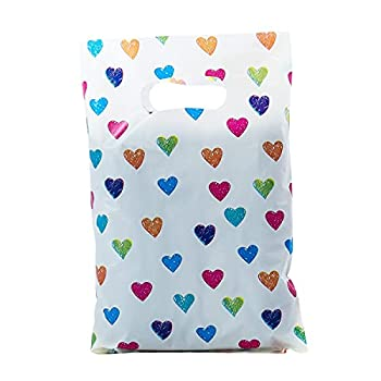 Ysmile Poly Die Cut Handle Bag Good Merchandise Bag Plastic Shopping Bag Retail Bag Gift Wrapping Bag 1.5 mil 100 ct 5.9 x7.8  - Love Heart