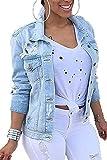 Women Denim Jackets Distressed Plus Size Long Sleeve Jean Jacket Coats Blue XXL