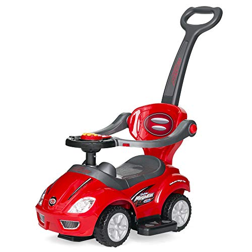 Best Choice Products Kids 3-in-1 Push and Pedal Car Toddler Ride On w/ Handle, Horn, Music - Red