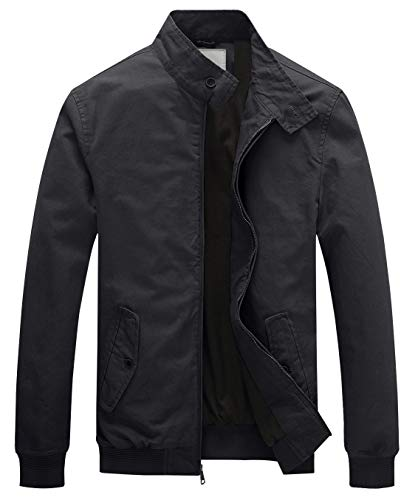 WenVen Men's Causal Cotton Bomber Jacket(Gray,Medium)