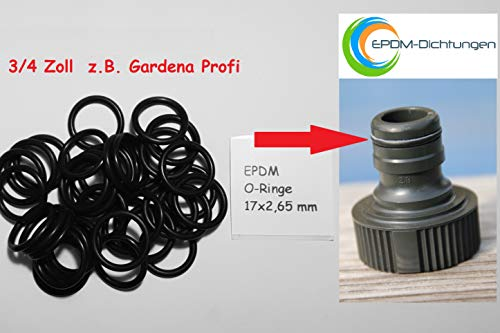 O-Ringe Dichtungen aus EPDM für alle 3/4 Zoll Schlauchsysteme z.B. Gardena Profi (10 Stück)