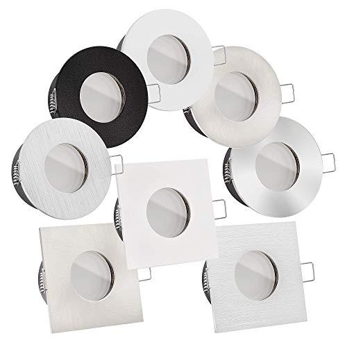 Preisvergleich Produktbild LED Bad-Einbauleuchten Lista Aqua Premium 230V / IP65 & flach 35mm / DIMMBAR / 6W statt 70W / 120° Milchglas / warmweiß 2700K / große Auswahl (Weiß eckig)