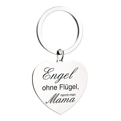 OYEFLY Schlüsselanhänger Mama Schlüsselanhänger Herz mit ''Gravur Engel ohne Flügel, nennt man Mama''als Geburtstag - Geschenk - Mutter - Muttertag - Muttertagsgeschenk (Silber)