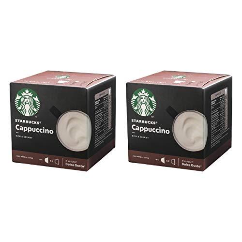 Nescafé Dolce Gusto Starbucks Cappuccino, 2er Set, Kaffeegetränk, Kaffee, Cremig, Kaffeekapsel, Röstkaffee, 2 x 12 Kapseln